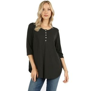 Zenana Premium Tops - Black 3/4 Sleeve Partial Button Down Shirt